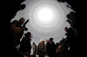 Christo leads journalists through Big Air Package