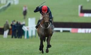 Barry Geraghty raises his whip in triumph as Bobs Worth wins the Cheltenham Gold Cup.