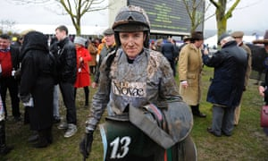 A mud splattered Geraghty walks back to the weighing room earlier in the day after he failed to have any success with Punjabi in the second race.