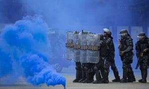 Brazilian paramilitary police in riot gear