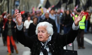 anti austerity demonstration in Lisbon Portugal