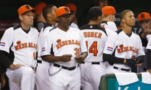 Netherlands' manager Hensley Meulens will need to juggle his infield after top prospect Jurickson Profar joined the team for the Championship Round of the World Baseball Classic. REUTERS/Toru Hanai