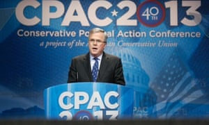 Former Florida governor Jeb Bush speaks  at a dinner at the Conservative Political Action Conference in National Harbor, Maryland.