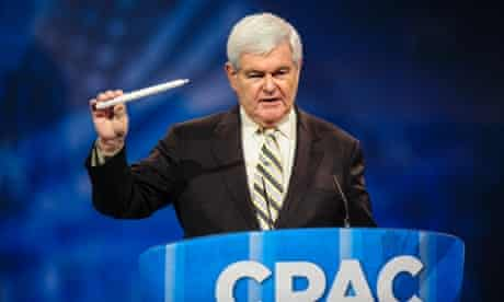 Newt Gingrich, former House speaker, holds a candle as he speaks about the Republican Party's need to innovate at the 2013 Conservative Political Action Conference (CPAC) in National Harbor, Maryland.