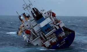 Cargo ship sinking in English Channel