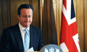 David Cameron at his press conference on Leveson last week.