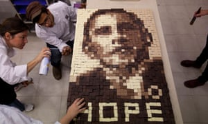 Students in Israel make an image of President Obama from chocolate.