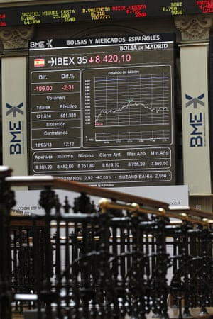 A screen at Madrid's Stock Market shows the Spanish index IBEX 35 index, in Madrid, Spain, 18 March 2013.