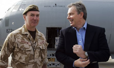 General Sir Nick Houghton, with Tony Blair, during his time as Britain's senior commander in Iraq