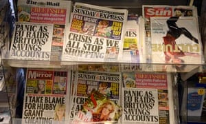 Newspapers on display in a shop