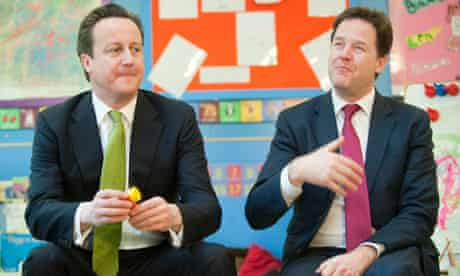 Cameron and Clegg on small chairs