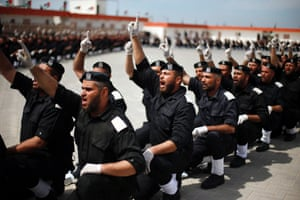 Members of the Hamas security forces take part in a graduation ceremony in Gaza City, Gaza Strip.
