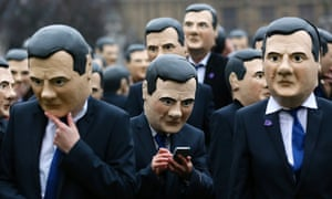 A scene from an Ed Balls nightmare? Campaigners dressed as Britain's Chancellor of the Exchequer, George Osborne, in central London. They were protesting on behalf of 'Enough Food for Everyone IF', a campaign to end global hunger.