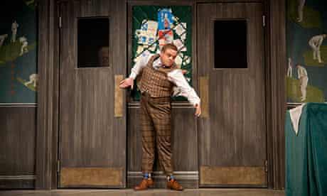 Owain Arthur as Francis Henshall, Mark Jackson as the waiter in One Man, Two Guvnors