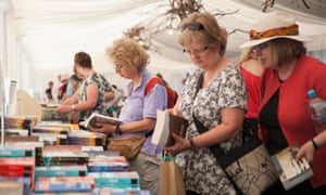 Festivalgoers browse in the bookshop tent.