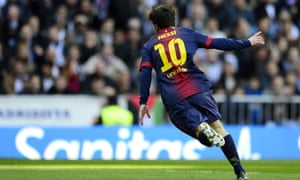 Lionel Messi wheels away after his equaliser.