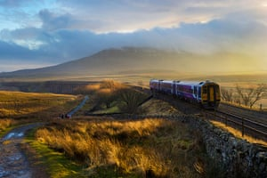 Railways: A train approaches Ribblehead Viaduct