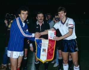 England kits: England captain Bryan Robson meets the French captain Michel Platini