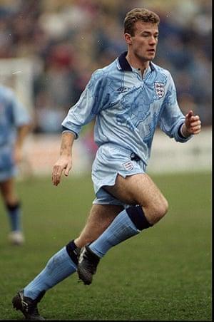 England kits: Alan Shearer of England