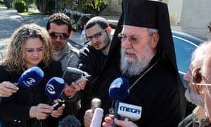 Archbishop Chrysostomos announces plans to help the country's financial crisis.  Photograph: EPA/Katia Christodoulou