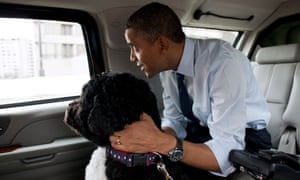 The President and Bo, the Obama family dog.