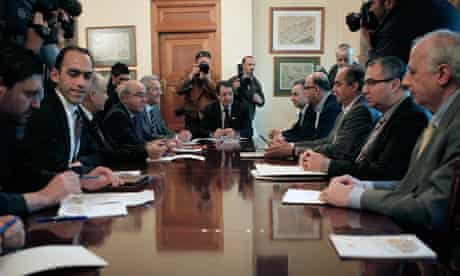 Cyprus president Nicos Anastasiades and party leaders in talks