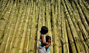 Children walk past palm branches to be used for this weeks' Palm Sunday festivities in Manila, Philippines.