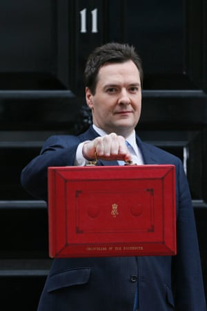 Here he is! Britain's Chancellor of the Exchequer, George Osborne, holding up his budget case in a that somewhat tired pose outside No 11 Downing Street, London.