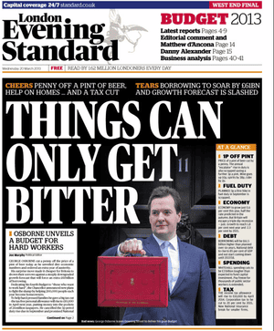 Evening Standard front page. March 20