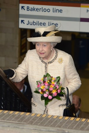 Britain's Queen Elizabeth II surfaces during her first public engagement for more than a week following illness. Members of the Royal family visited Baker Street Underground Station to mark the 150th anniversary of the London Underground