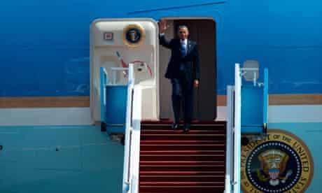 Barack Obama arrives in Israel