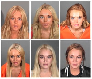 Mean Girl Part VI: Actress Lindsay Lohan added to her gallery of police mugshots overnight. Top row (L to R) 24th July 2007, 15th November 2007, 20th July 2010. Bottom row (L to R) 24th September 2010, 19th October 2011 and her most recent, 19th March 2013.