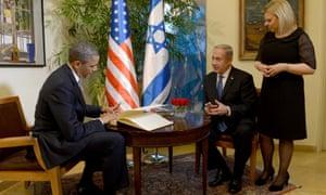 President Obama signs a guestbook at Israeli Prime Minister Benjamin Netanyahu's residence in Jerusalem.