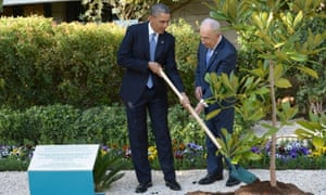 President Obama and Israeli President Shimon Peres at a magnolia tree planting ceremony earlier today.