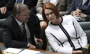 Anthony Albanese with Julia Gillard in parliament.