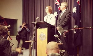 Julia Gillard announces her survival as Labor party leader and PM with Wayne Swan at her side