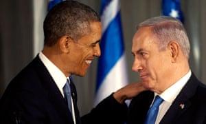 US President Barack Obama  greets Israeli Prime Minister Benjamin Netanyahu during a press conference in Jerusalem.