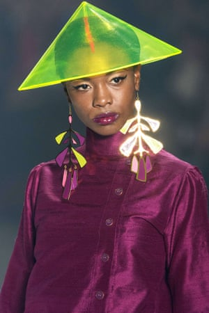 A model wears a creation by Neon during the 2013 Summer collections of the Sao Paulo Fashion Week in Sao Paulo, Brazil last night.