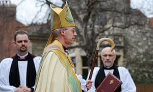 Archbishop of Canterbury Justin Welby arrives at the west door of Canterbury Cathedral for his inauguration