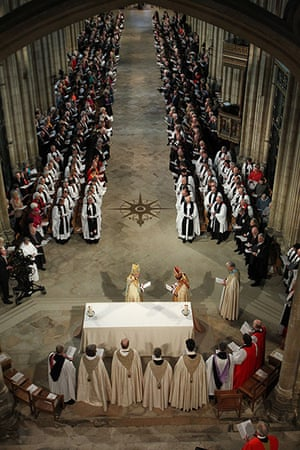 Archbishop enthronement: The Most Reverend Justin Welby arrives at the altar