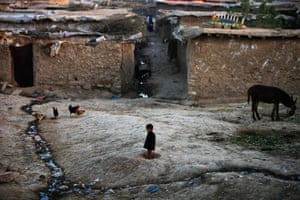 An Afghan refugee boy