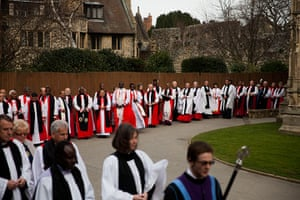 Archbishop enthronement: A procession of religious representatives enter Canterbury Cathedral