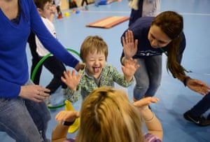 A child plays at an event marking world Down's syndrome day in Bucharest, Romania.