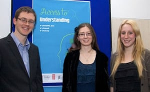 Access to Understanding winner Emma Pewsey, flanked by runners-up Ian Le Guillou and Claire Sand.