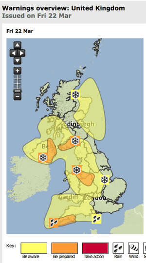 Met Office weather warnings for 22 March 2013