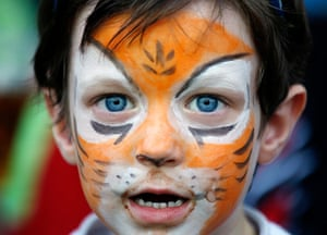 24 hours: Hong Kong, China: A rugby fan with his face painted