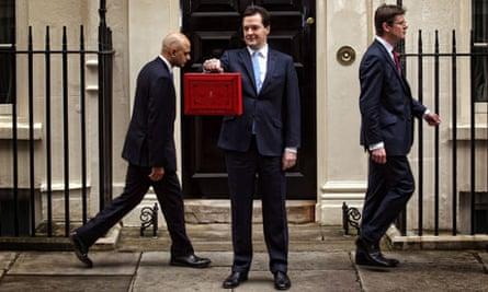 George Osborne with budget box, 11 Downing Street 20/3/13