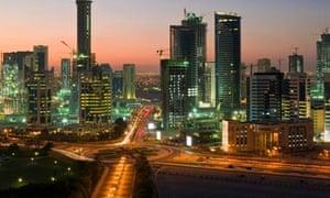 Doha's skyline by night
