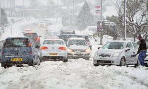 Cars stuck in the snow in Newtownabbey, Northern Ireland