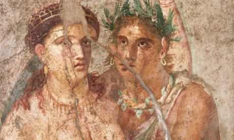 Woman and a Satyr Fresco Painting From Pompeii